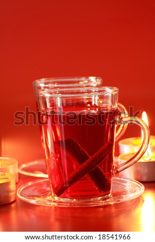 Christmas still life with hot drink and candles - stock photo