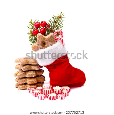 Christmas stocking, candy and cookies on white background - stock photo