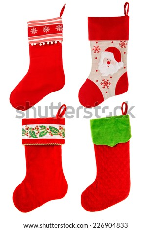christmas stocking. red sock with Santa Claus and snowflakes on white background. winter holidays symbol - stock photo