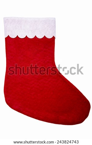 Christmas stocking with heart isolated on white background - stock photo