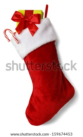 Christmas Stocking with Presents Isolated on White Background. - stock photo