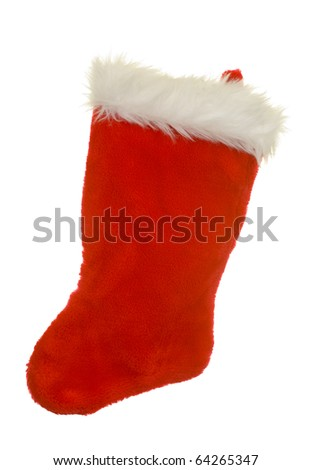 Christmas Stoking ready for gifts; isolated on white background - stock photo