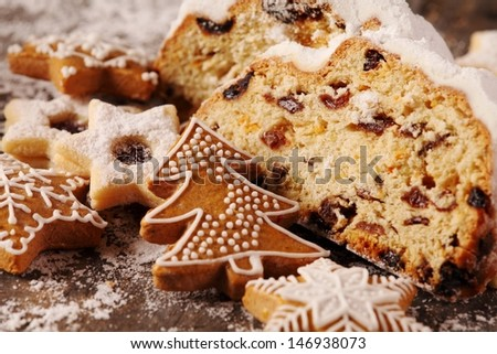 Christmas stollen, cookies and gingerbread cookies - stock photo