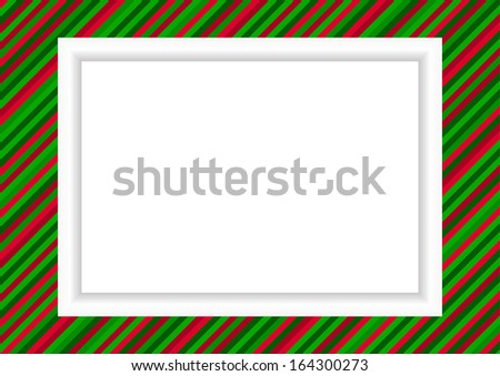 Christmas styled striped frame for photo or graphic - stock photo