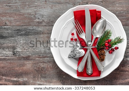 Christmas table place setting. Holidays background - stock photo