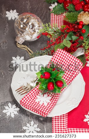 Christmas table place setting with Christmas decorations. Christmas dinner vintage concept. Macro selective focus - stock photo