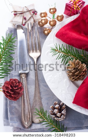 Christmas table place setting with christmas decorations. Christmas menu concept. - stock photo