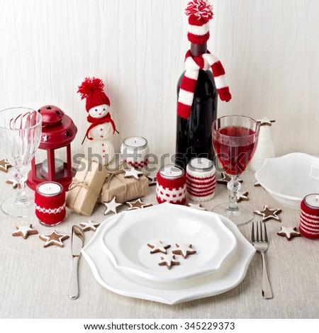 Christmas table setting. Christmas decorations. New Year Celebration. - stock photo