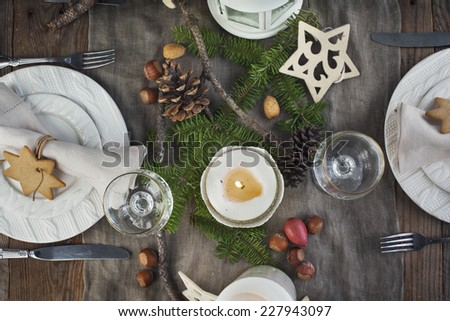 Christmas table setting. Holiday Decorations. Top view - stock photo