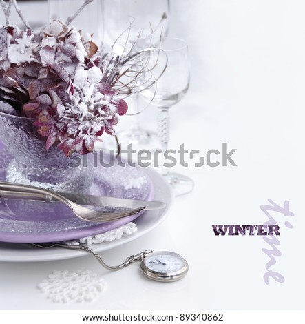 Christmas table setting on the white background - stock photo