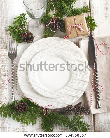 Christmas table setting. Top view - stock photo