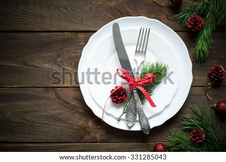 Christmas table setting with christmas decorations,. Top view, copyspace. - stock photo