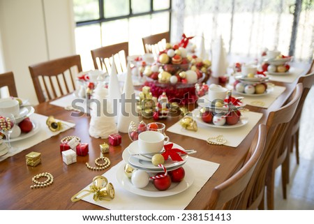 christmas table setting with ornament, new year table setting - stock photo