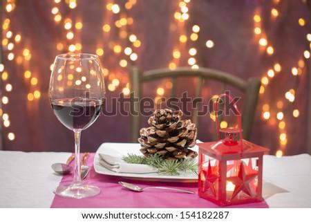 christmas tableware - stock photo