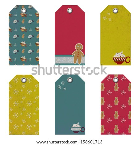 Christmas Tag Set - Grunge - stock photo