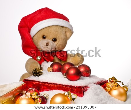 Christmas teddy bear with Red Hat - stock photo