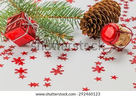 Christmas theme on a white background - stock photo