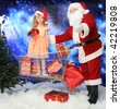 Christmas theme: Santa  gifts, shopping with a child. - stock photo