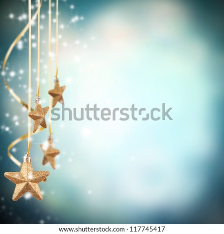 Christmas theme with golden stars - stock photo