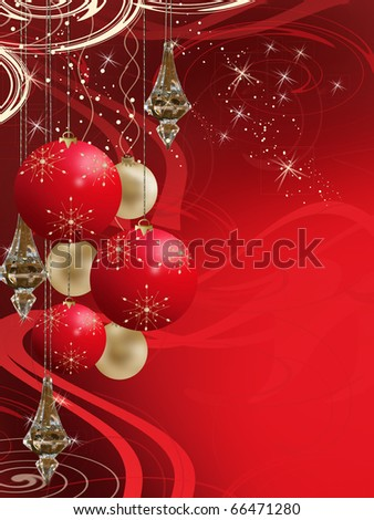 Christmas themed background with ornaments and flakes - stock photo