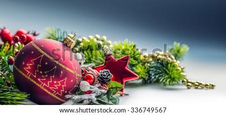 Christmas Time. Christmas card with ball fir and decor on glitter background.Xmas - stock photo