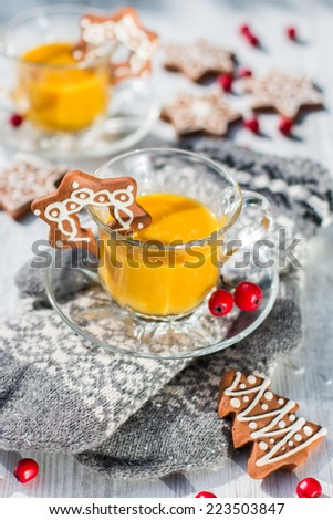 Christmas time eggnog or zabaione - stock photo