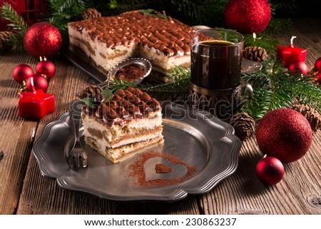 Christmas tiramisu - stock photo