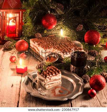 Christmas tiramisu - stock photo