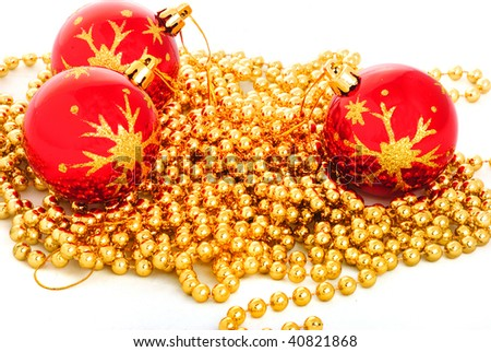 Christmas toy and beads 19 - stock photo