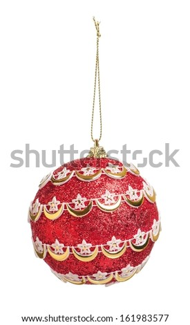 Christmas toy ball isolated on white background - stock photo