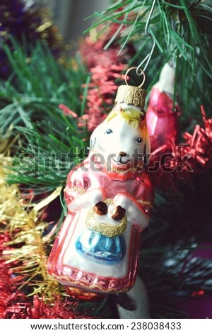 Christmas toy in the form of goats, sheep, symbol of the year, Christmas decorations, garland - stock photo
