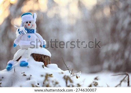 Christmas toy snowman landscape deer New Year - stock photo