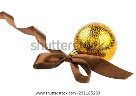 Christmas toy with ribbon on a white background - stock photo