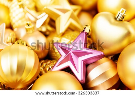 Christmas toys background. Gold collection - stock photo
