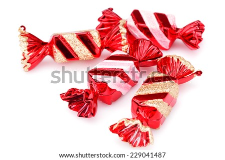 Christmas toys  candies isolated on white background. - stock photo
