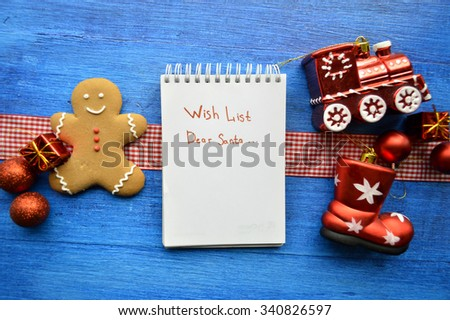Christmas toys, Christmas decorations, Christmas balls, notebook,gingerbread.Christmas and New Year concept - stock photo