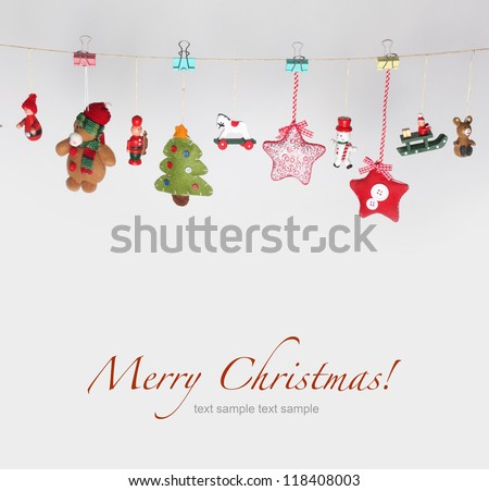 Christmas toys garland background - stock photo