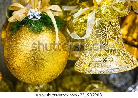 Christmas toys on a Christmas tree - stock photo