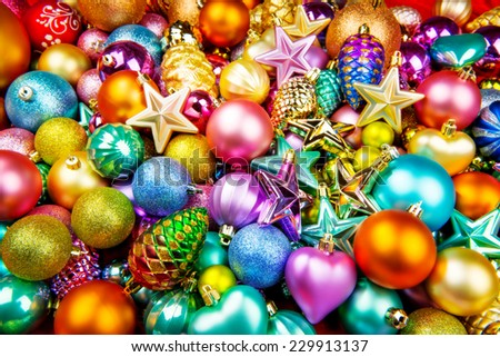 Christmas toys texture background - stock photo