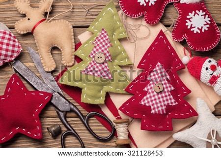 Christmas toys with their own hands, top view - stock photo