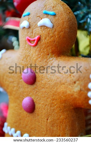 Christmas tree and a cookie man made of ginger bread - stock photo
