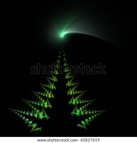 christmas tree and bright comet star isolated on black background - Illustration created from a fractal - stock photo