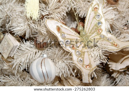 Christmas tree and decoration - stock photo