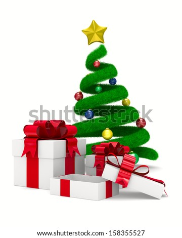 Christmas tree and gift box on white. Isolated 3d image - stock photo