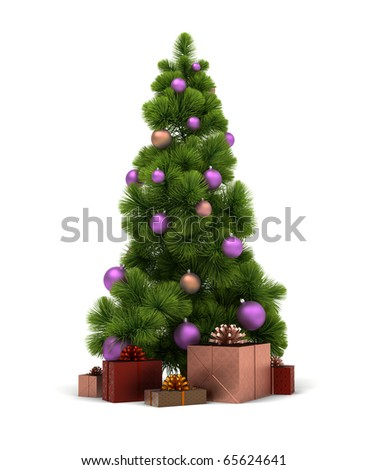 Christmas tree and gifts. 3d image. Isolated white background. Clipping path included. - stock photo
