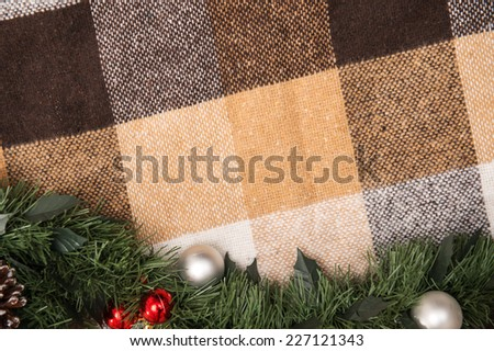 Christmas  tree and New Year toys  and decoration like  fir branches on spread with  top view  and  copy place - stock photo