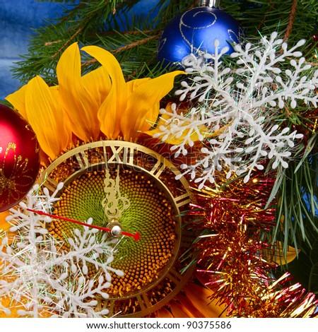 Christmas tree and original Christmas decorations - stock photo