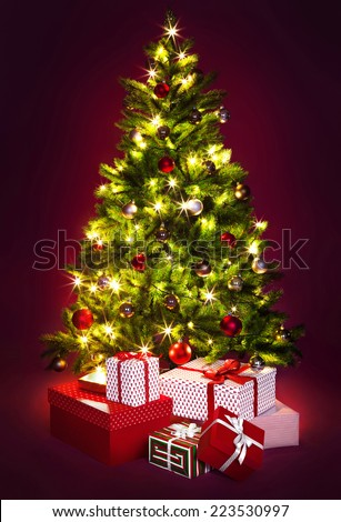 Christmas tree and presents. The image is a collage, every image has it's own resolution - stock photo