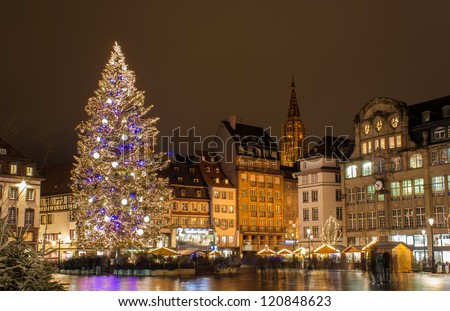 "Christmas tree at Place Kleber in Strasbourg, ""Capital of Christmas"". Alsace, France - stock photo"