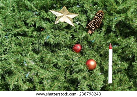 Christmas tree background with ornaments and lights. Great for use as background. - stock photo